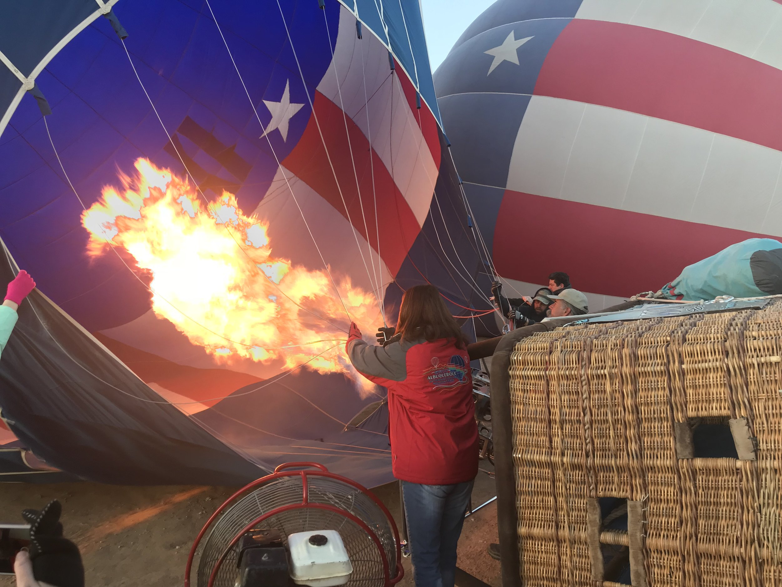 Firing up the balloon for a sunrise ride!