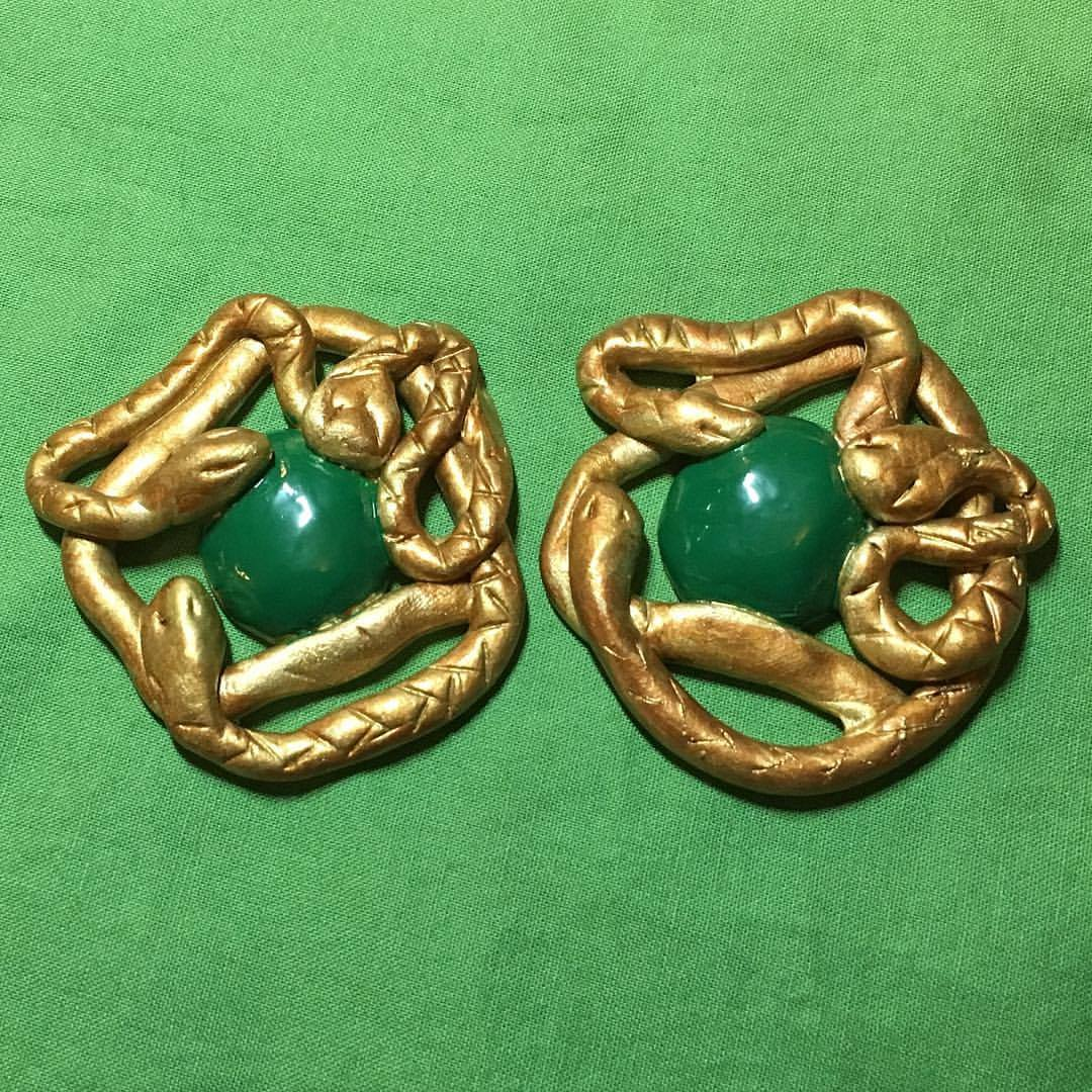 Winnie's snake clasps, in progress