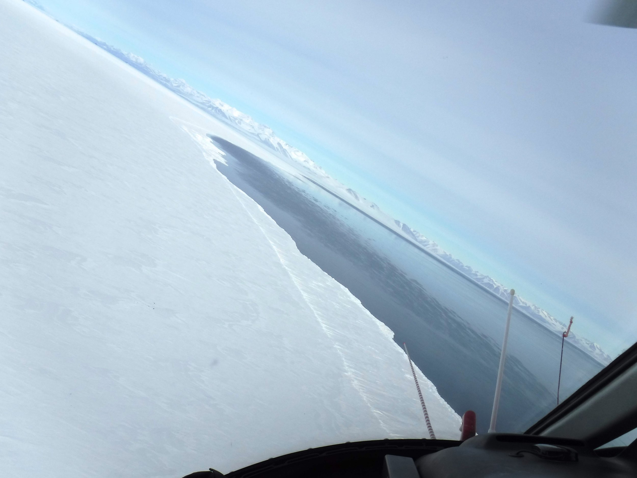 View of ice-edge as helicopter turns. Photo credit: Caitlin Scarano.
