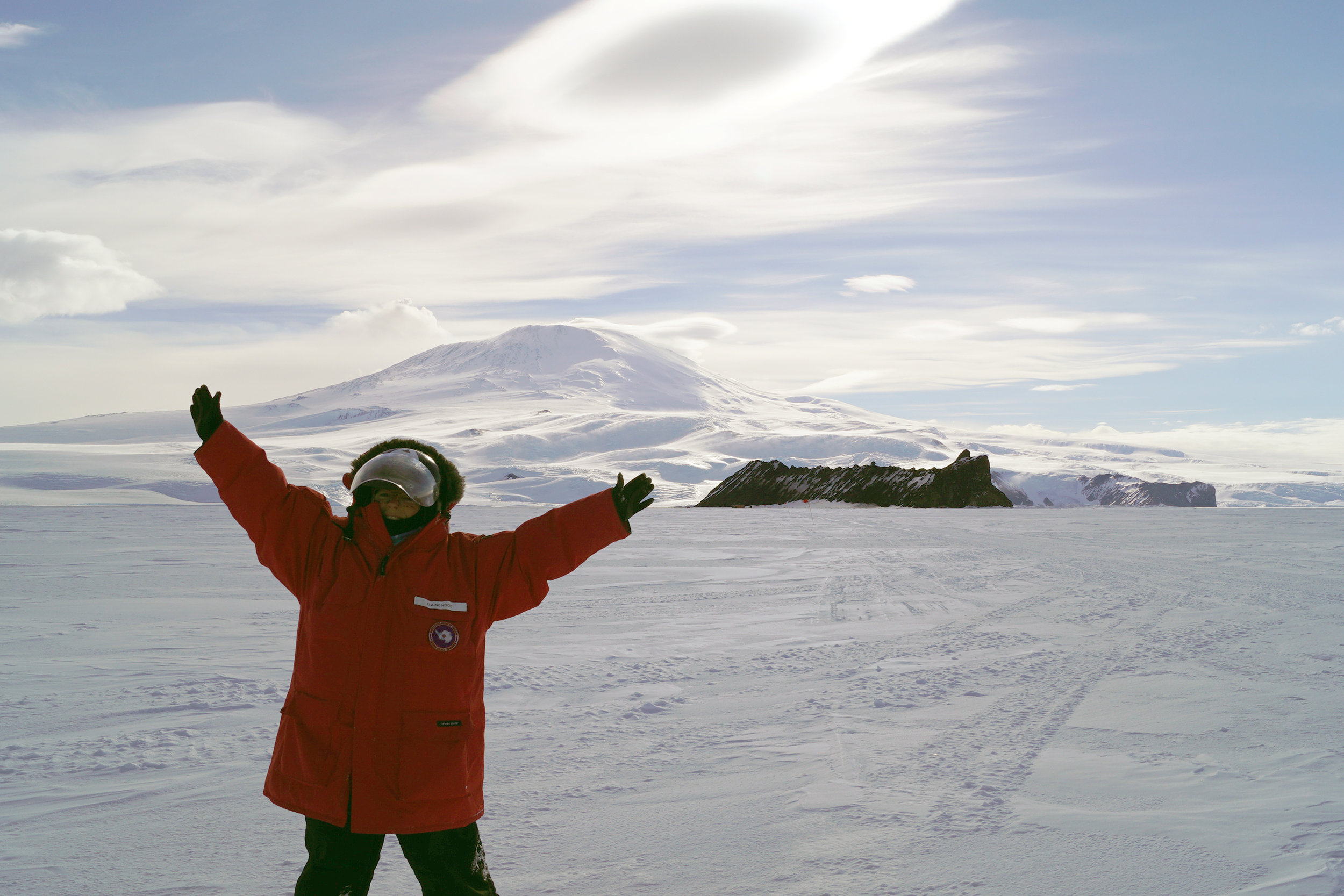 In front of Mt. Erebus. Photo credit: Elaine Hood.