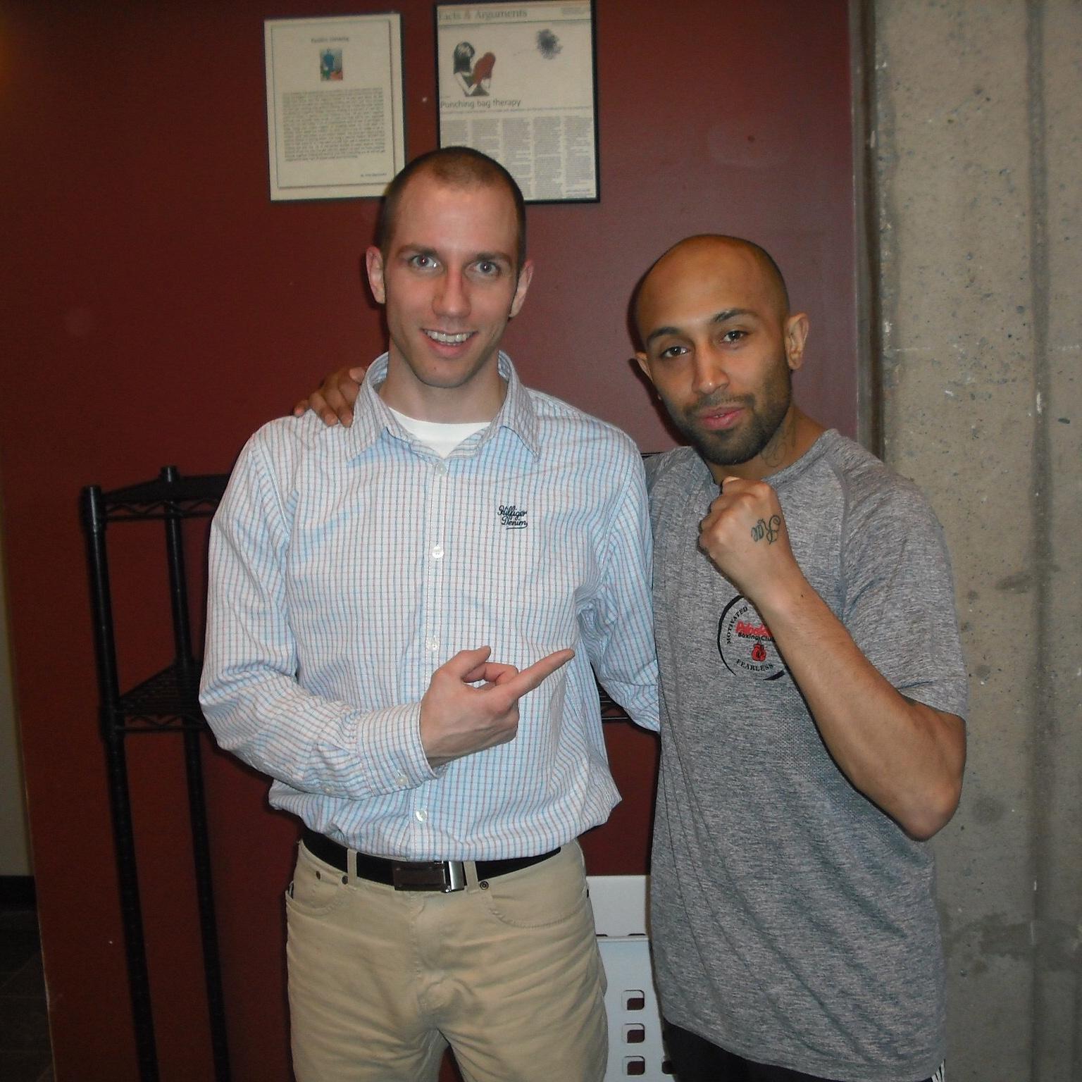 L to R: myself, World Boxing Union champion Tyson Cave; 2011