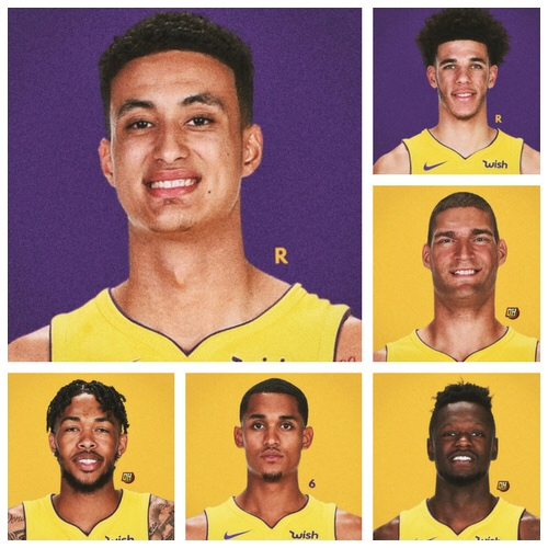 LAL (5-6) - Clockwise: Kuz-Ball-Lopez-Randle-Clarkson-Ingram