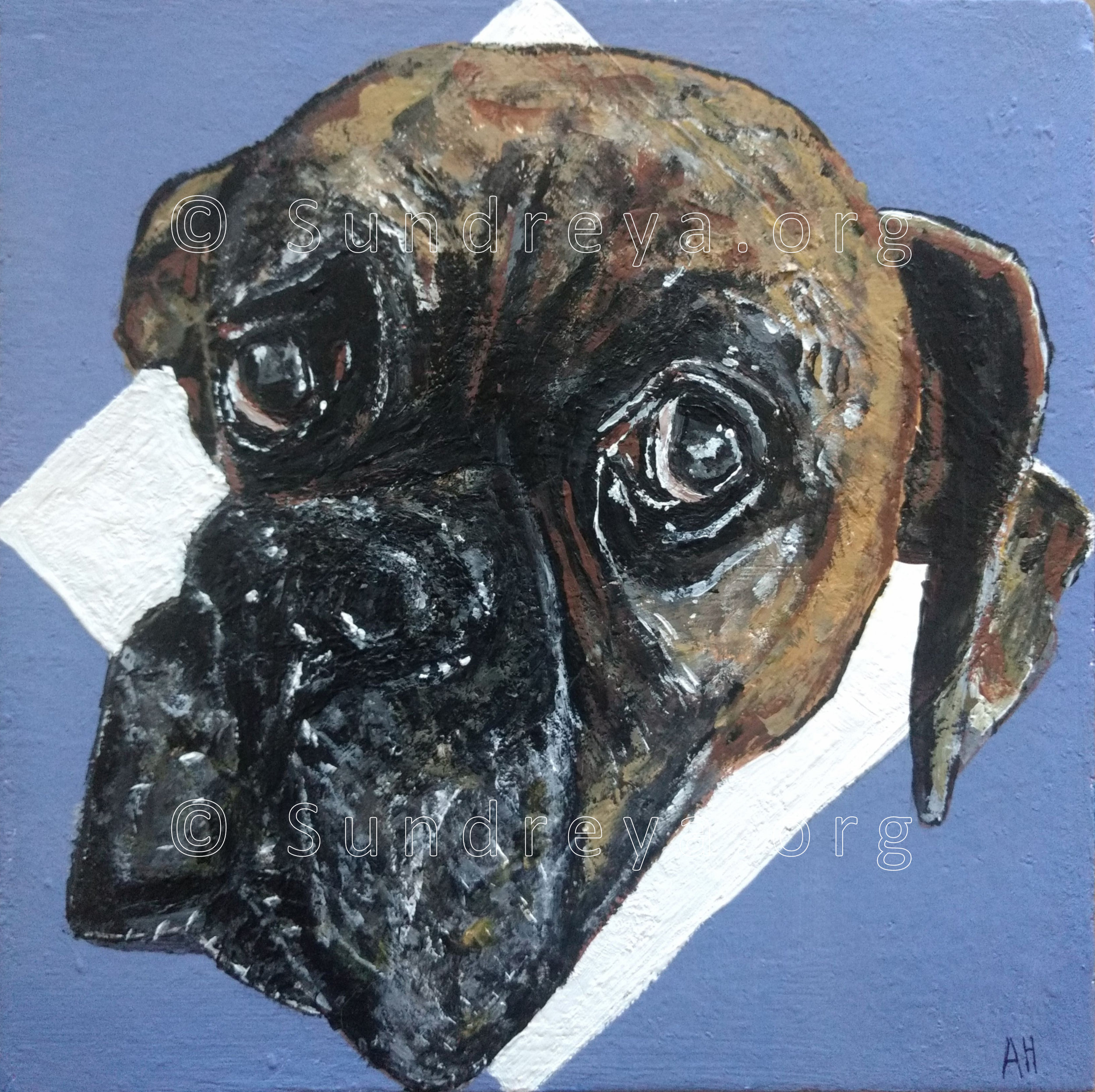 "Commissioned: Jeremy the Boxer, 6 x 6"" tile, acrylic with gloss finish"