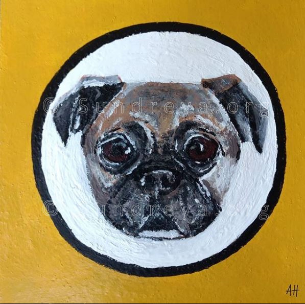 "Commissioned: Ricky the Pug, 6 x 6"" tile, acrylic with gloss finish"