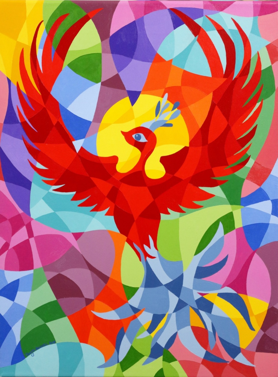 """""""This painting was a commission after the client fell in love with Phoenix Rising III but couldn't accommodate a painting of such a large size. It was a challenge to adjust the Phoenix to the smaller canvas size and new ratio but I am delighted with the result. I love painting this Phoenix because it is uplifting, strong and positive. It makes me happy to look at :) """" - September's Featured Artist, Tanja Hassel  Phoenix Rising IV, acrylics on canvas, 30cm x 40cm, 2018"""