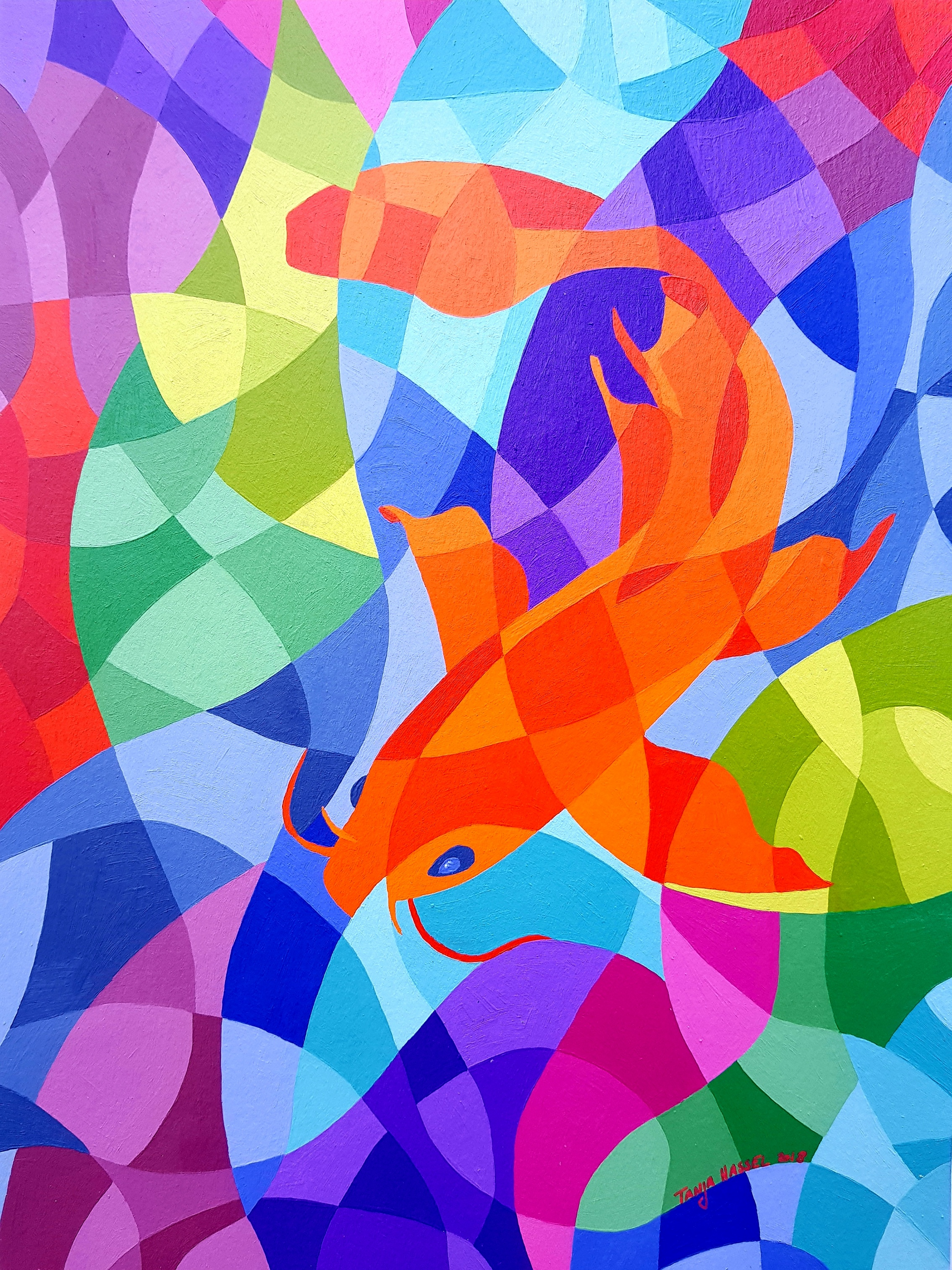 """"""" I painted this piece to capture the fluid, graceful movements of this fish, which I believed to be a catfish but it may actually be a carp. Still, I love the shape of this fish and the golden orange colour, too. That is why I kept the background mainly blue and purple to emphasize the vibrant colour of the fish. """" - September's Featured Artist, Tanja Hassel  Catfish, acrylics on paper, 21 cm x 28.5 cm, 2018"""