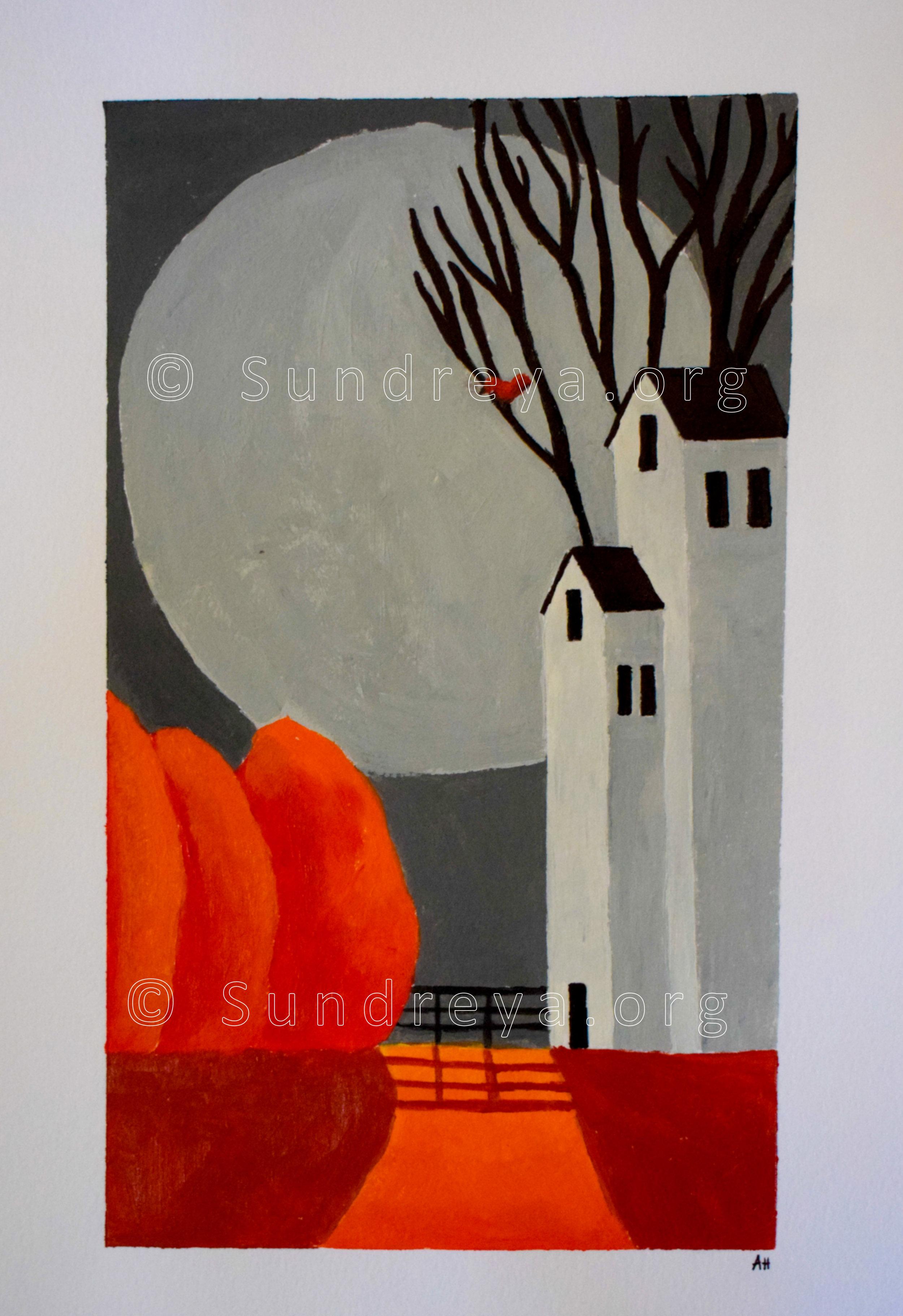 "Halloween, acrylic on 9 x 12"" paper"