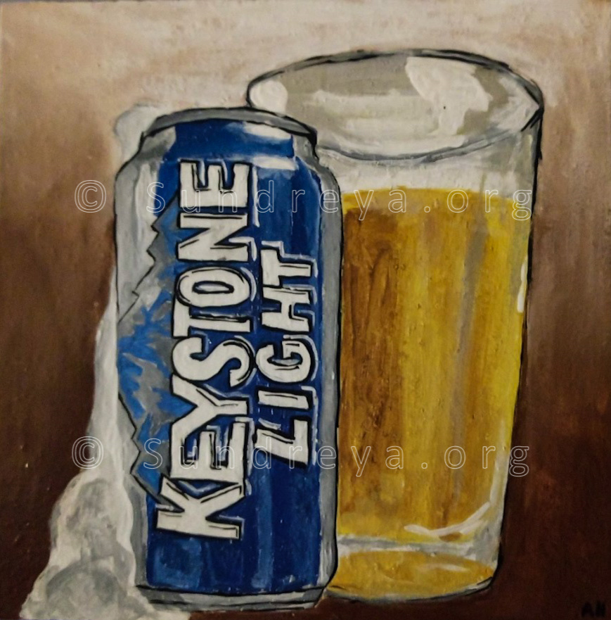 "Commissioned: Keystone, acrylic on 6 x 6"" tile"