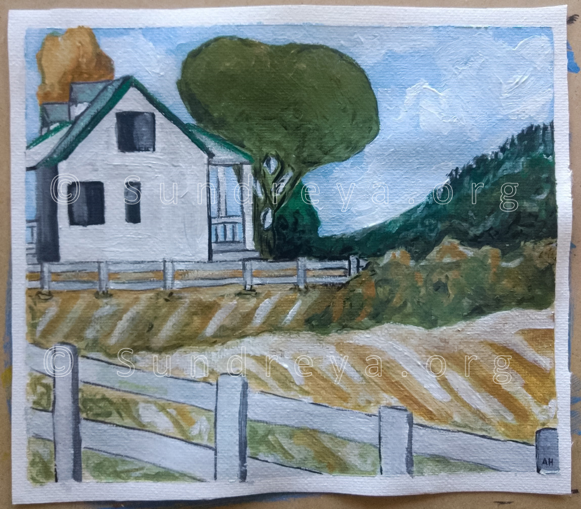 "Landscape, acrylic on 6 x 7"" canvas fabric"