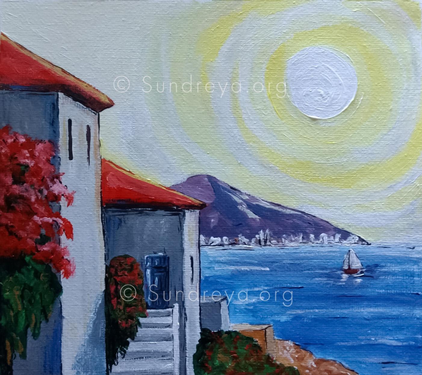 "Coastal, acrylic on 5 x 7"" canvas fabric"