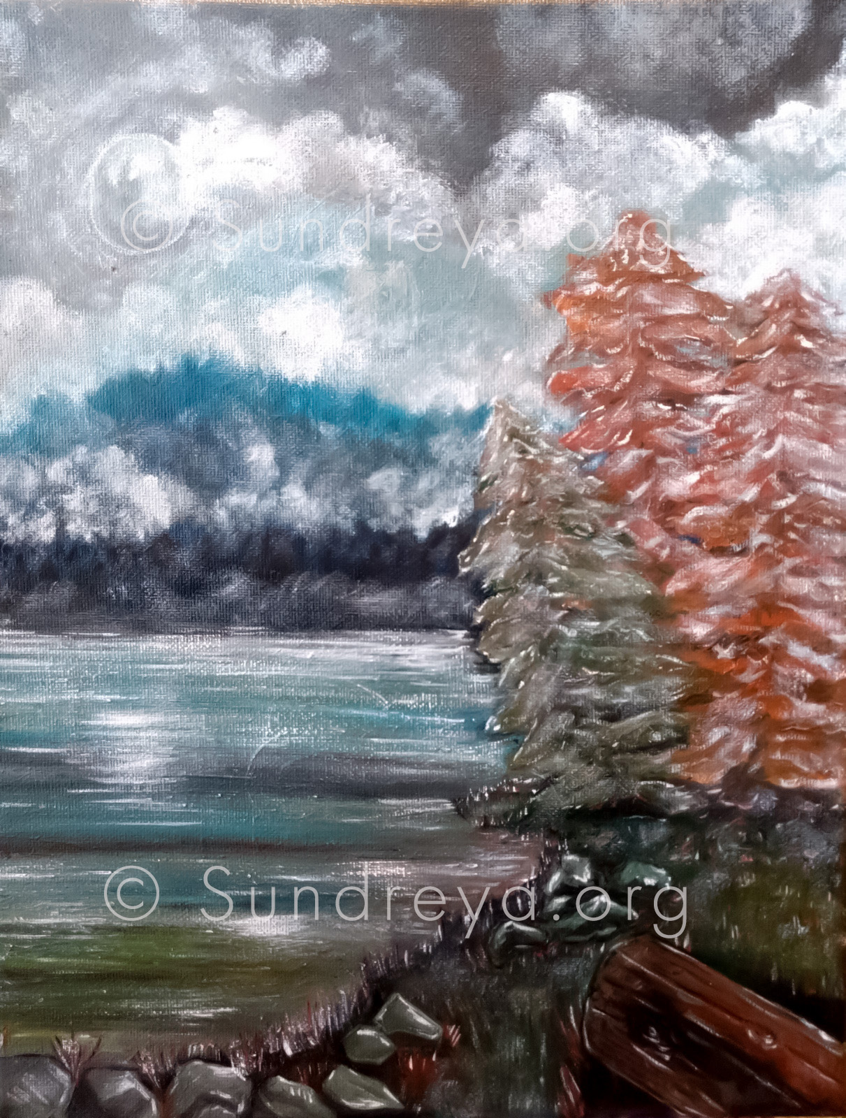 "Oregon, acrylic on 9 x 12"" canvas"