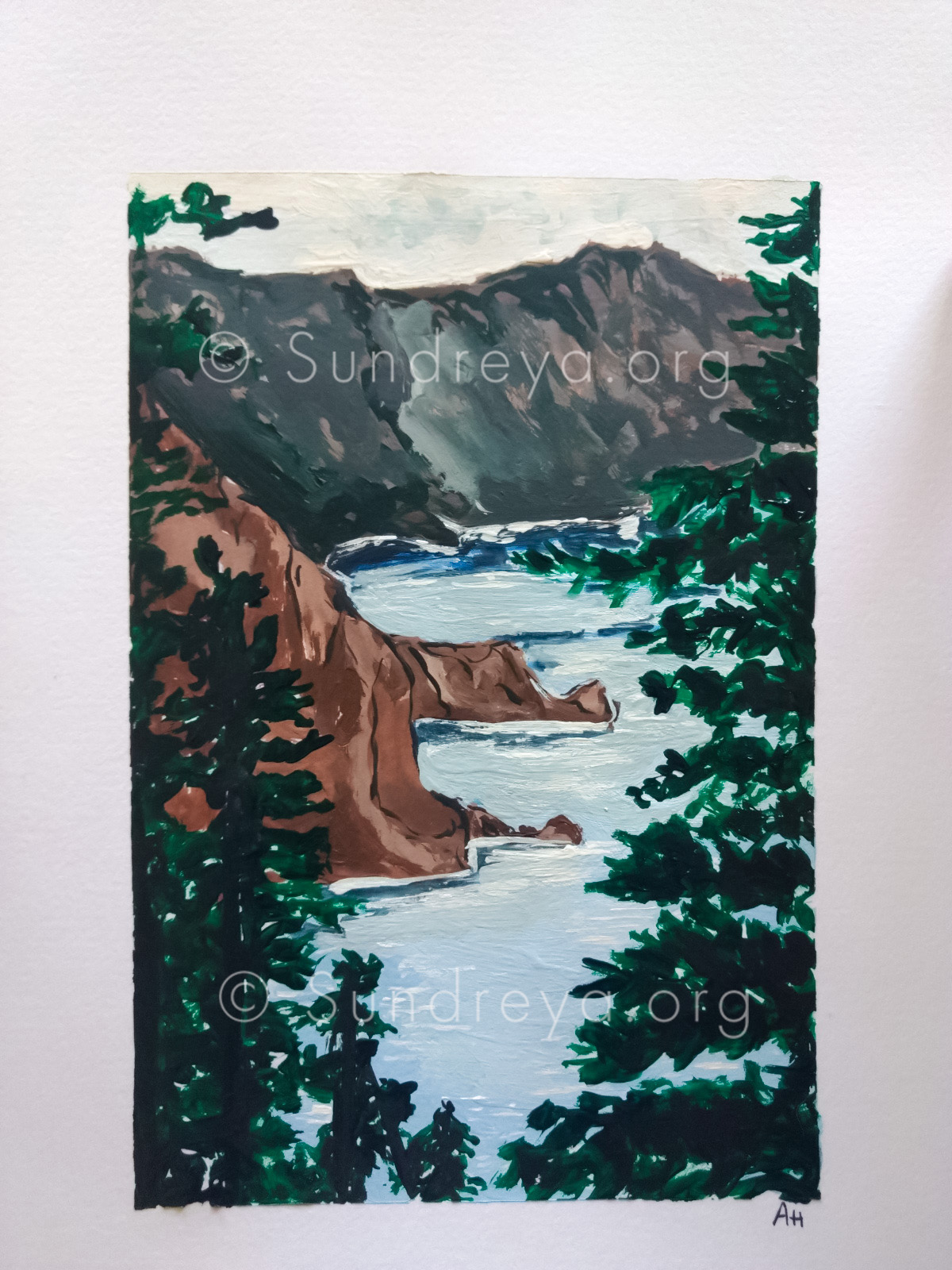 "Crater Lake, acrylic on 5 x 8"" paper"