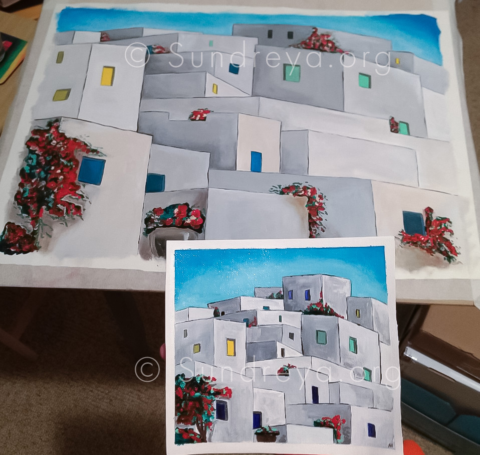 """Greece architecture, acrylic on canvas fabric - two sizes: 5 x 7"""" and 16 x 22"""""""