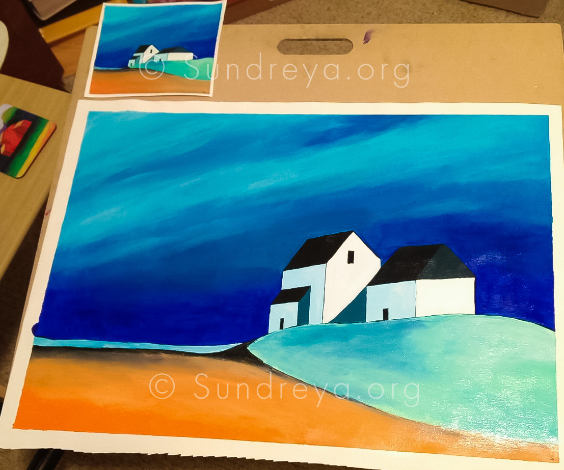 """Beachfront, acrylic on canvas fabric - two sizes: 5 x 7"""" and 16 x 22"""""""