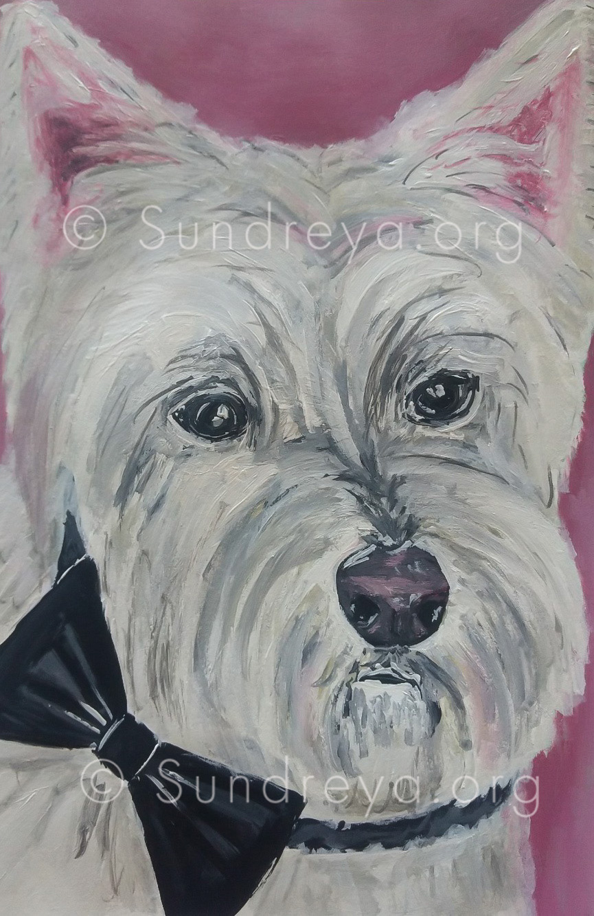 """Commissioned: Toby, acrylic on  7 x 10"""" paper"""