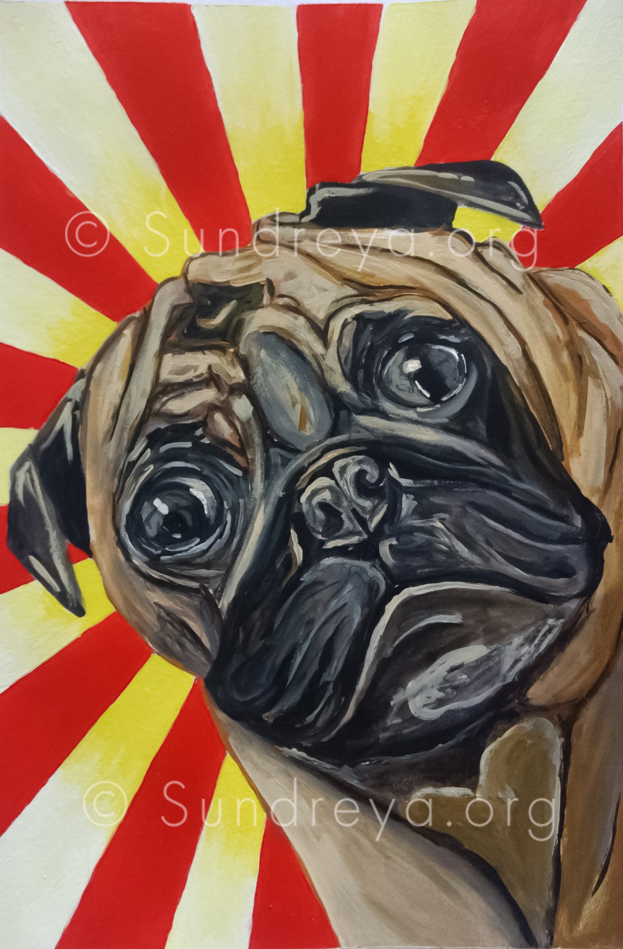 "Commissioned: Chubbs, acrylic on 7 x 10"" paper"