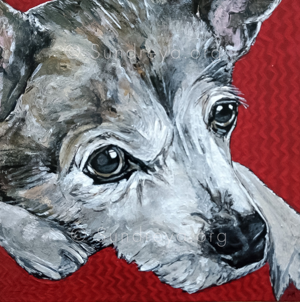 """Commissioned: April, acrylic on 6 x 6"""" tile with gloss finish"""