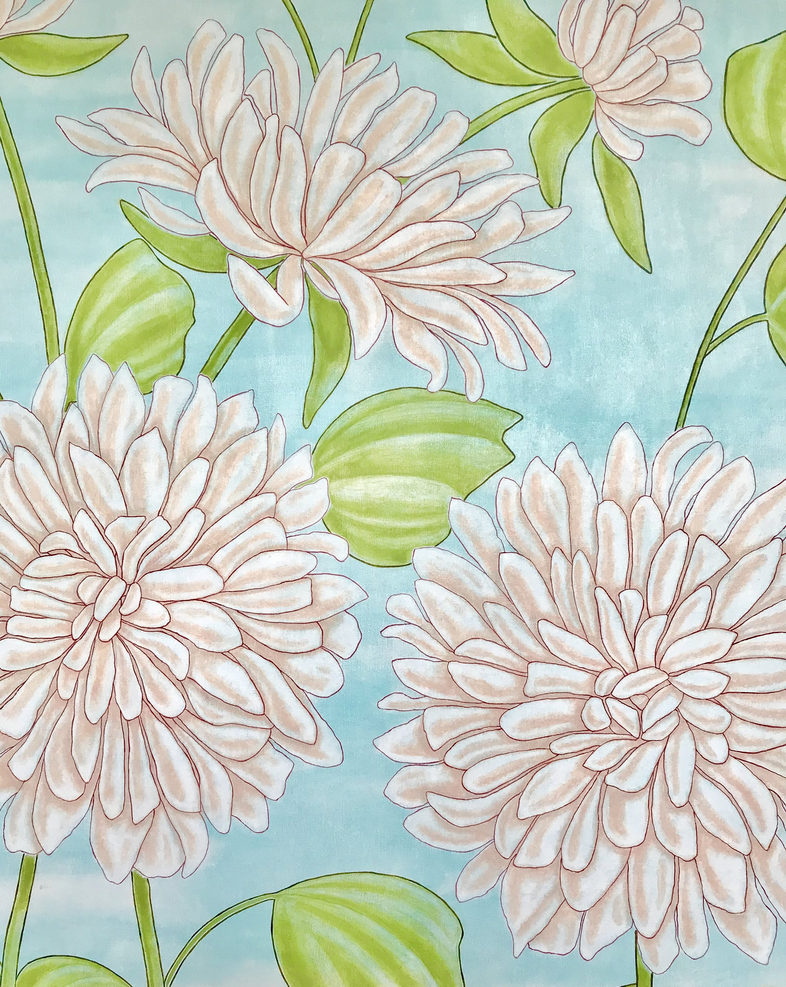 Giant Dahlias, 36 x 48""