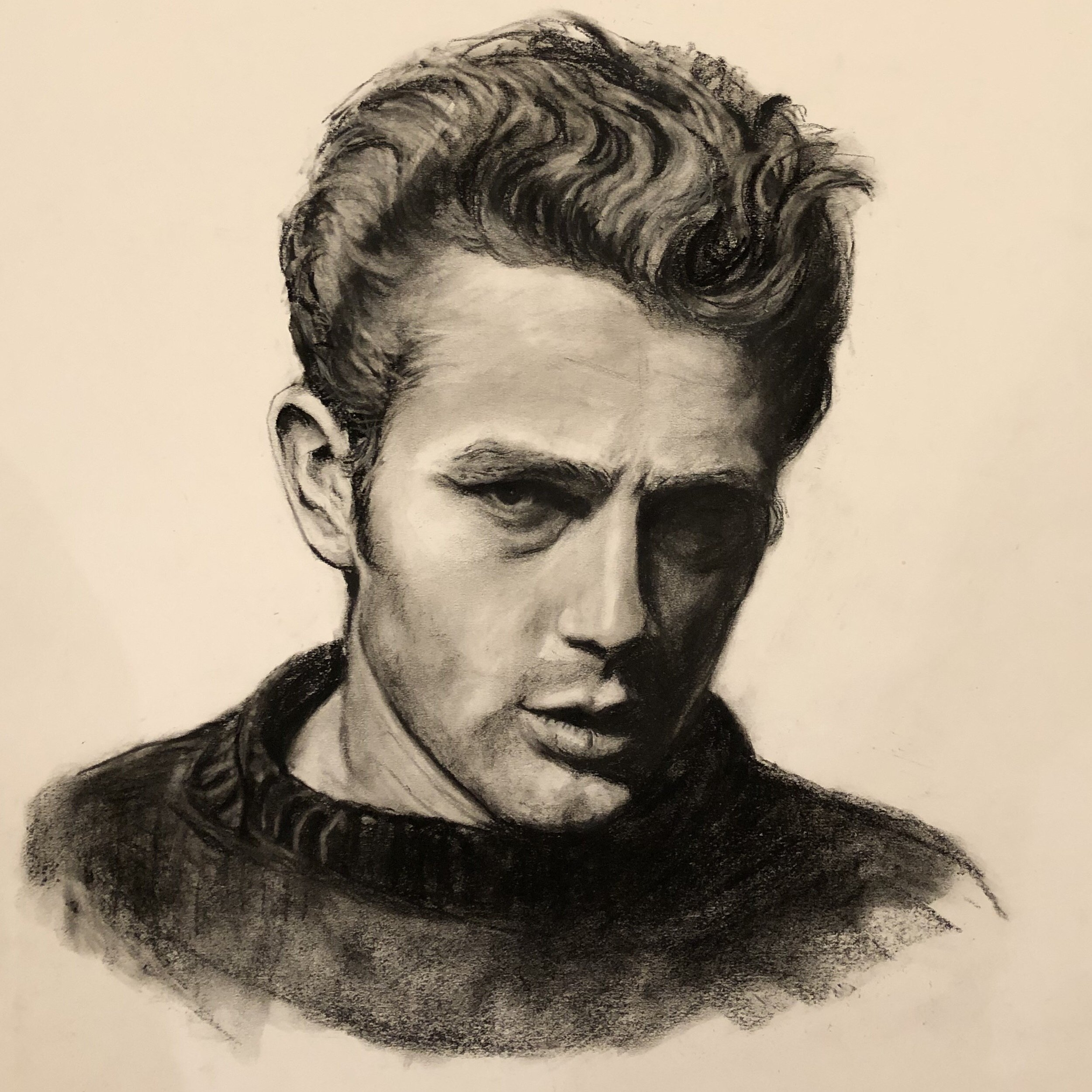 Jimmy Dean, Charcoal on pressed paper, 18x24