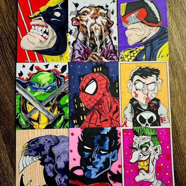 Sketch cards variety. Markers on post card stock.
