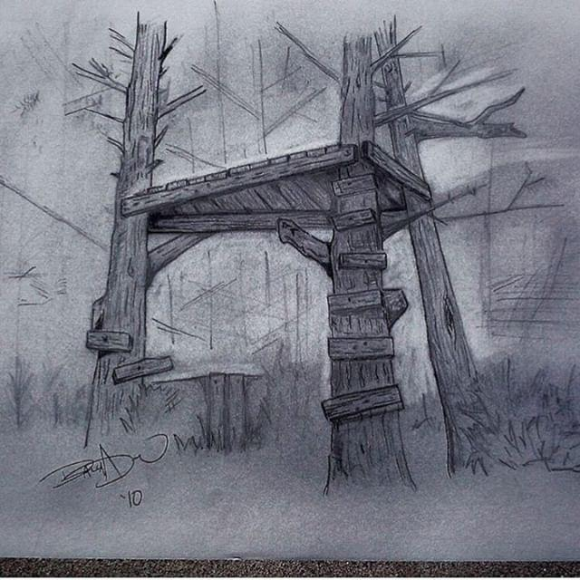 """""""Childhood Treehouse"""" pencil on paper"""