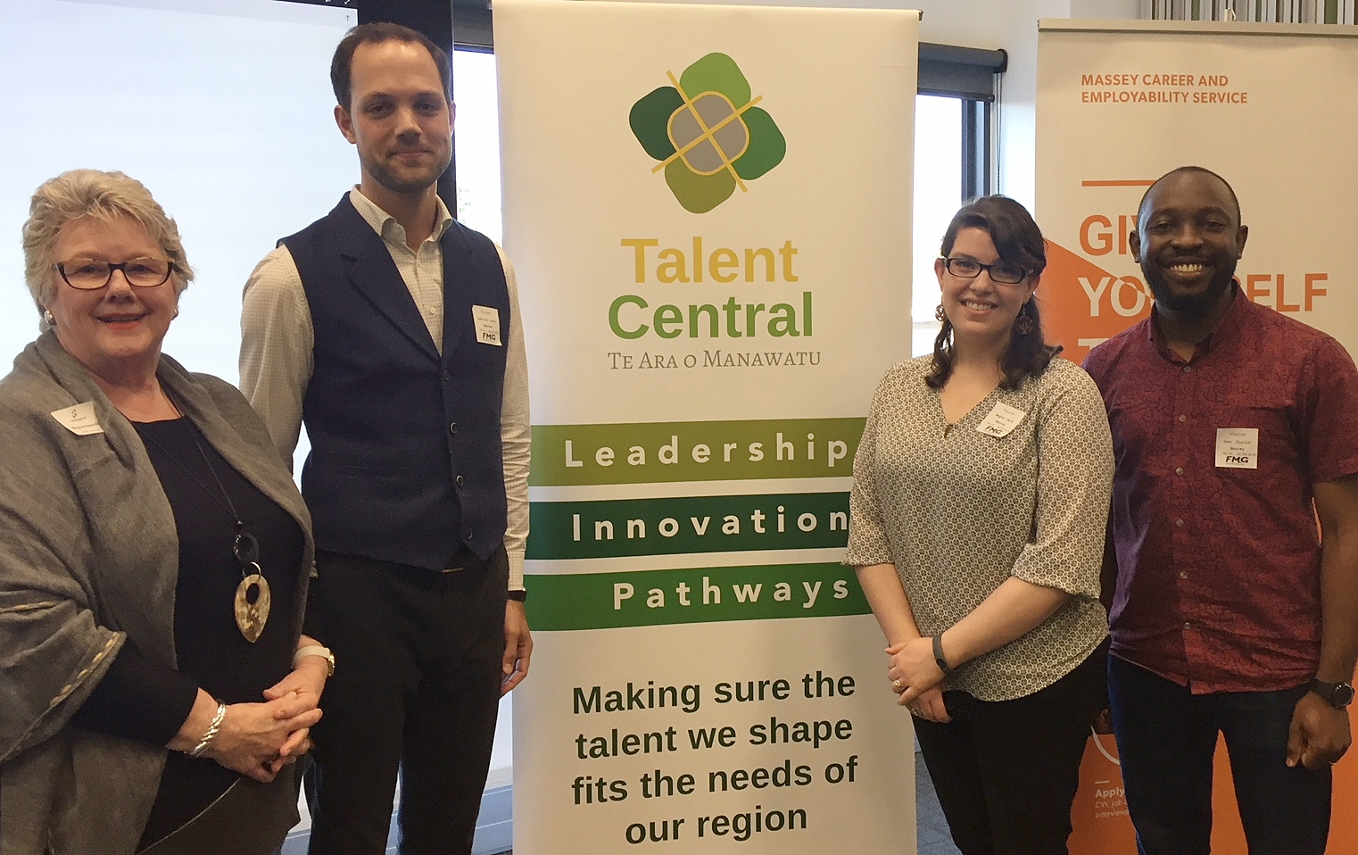 Talent Central CEO Margaret Kouvelis, with Massey Doctoral Students Gabriel Laeis, Seer Ikurior and Meghan Keck