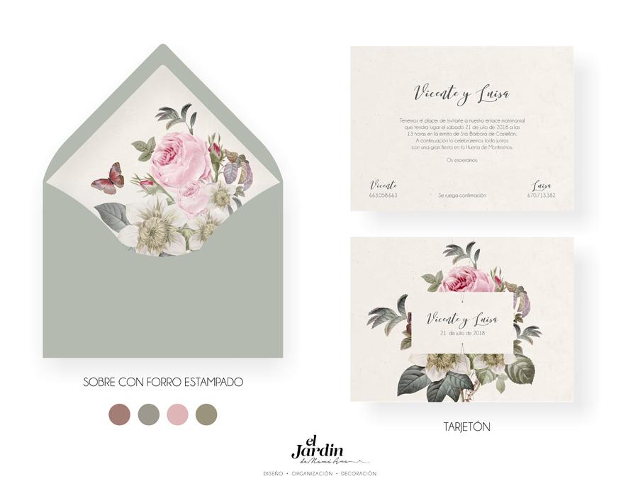 Invitación de boda con ilustración floral vintage