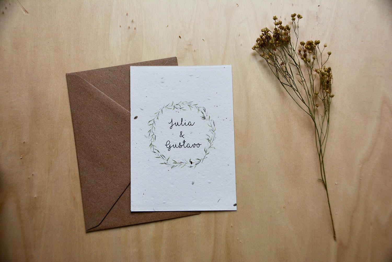 Invitación de boda con ilustración botánica