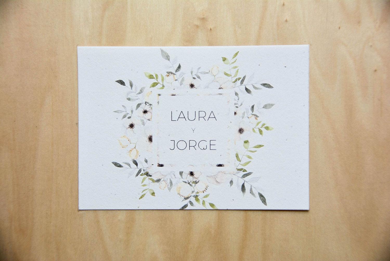 Invitación de boda con ilustración floral