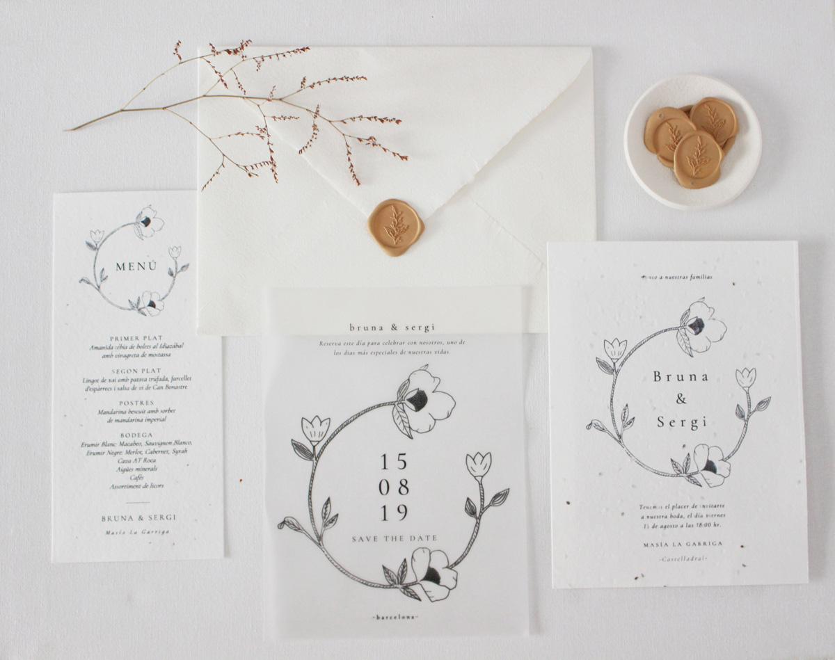 Invitación con ilustración de flores silvestres