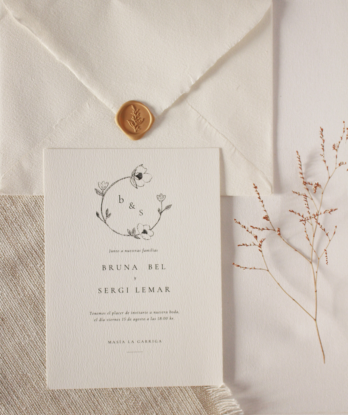 Invitación en papel verjurado de 300 gramos