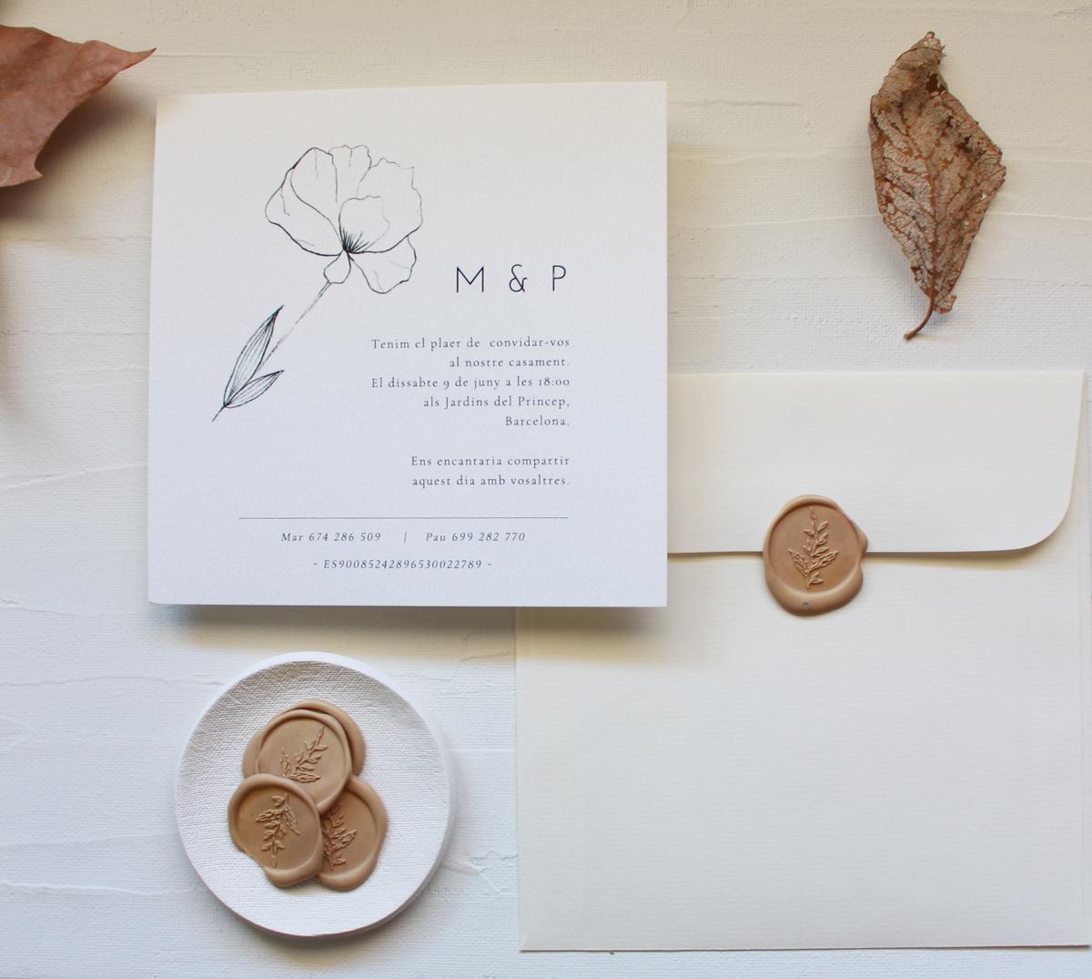 Invitación de boda con ilustración de amapola