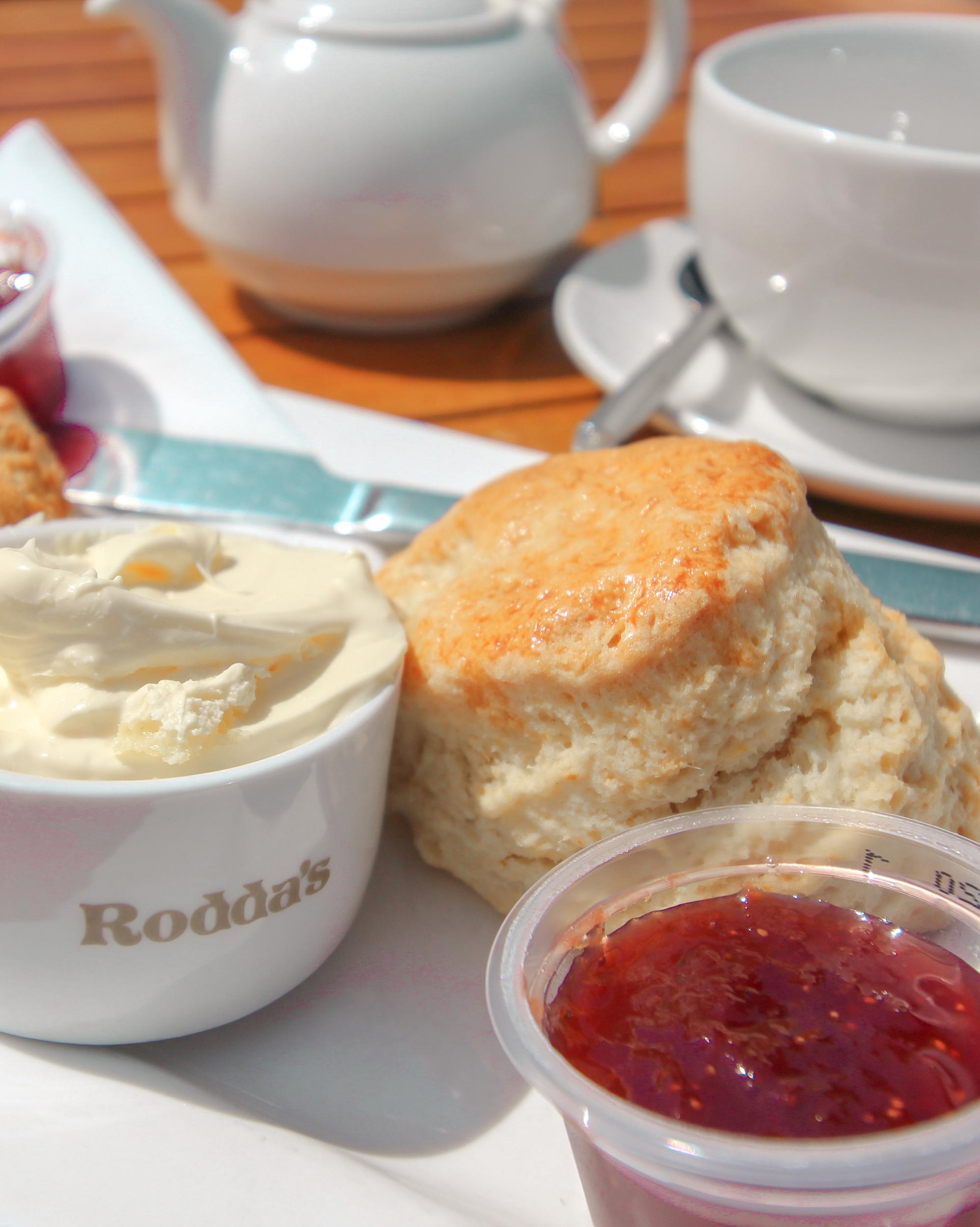 Cornish Cream Tea - Clotted cream and jam on a scone!