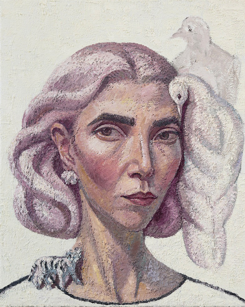 Self-portrait with Dove ,oil on linen,50.5cm x 40.5cm,2017