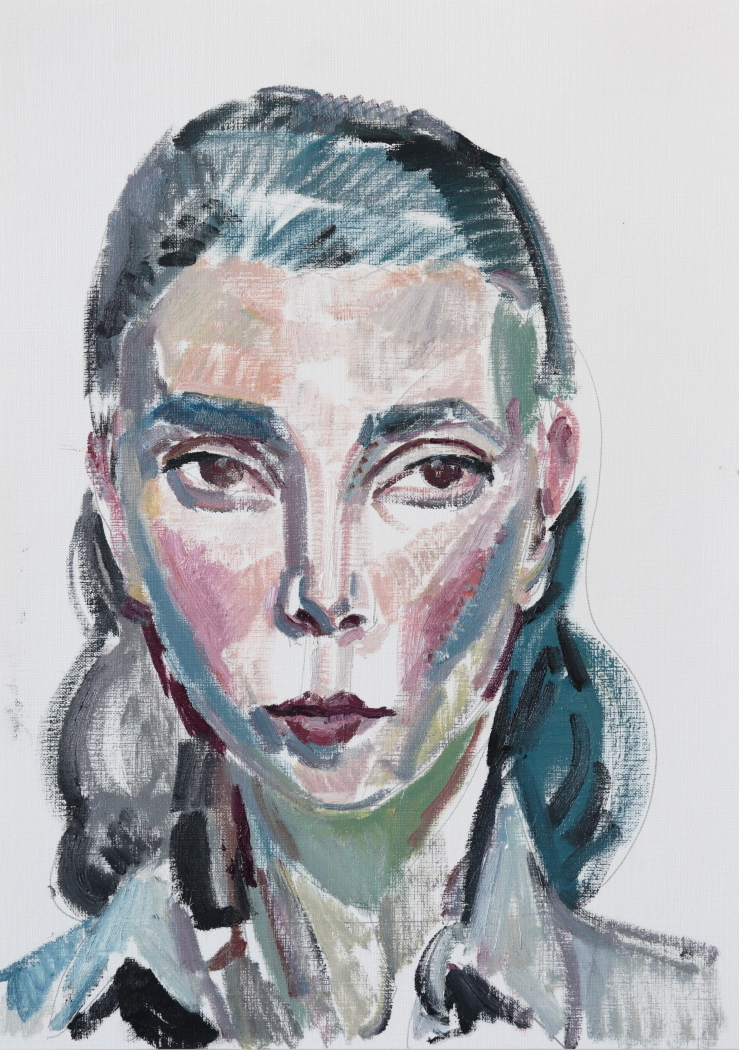 Self-portrait I ,oil on paper,42cm x 29.5cm,2017