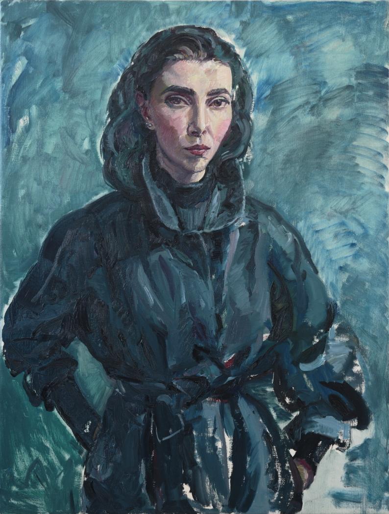 Self-portrait in Navy Coat ,oil on linen,106.5cm x 81cm,2017