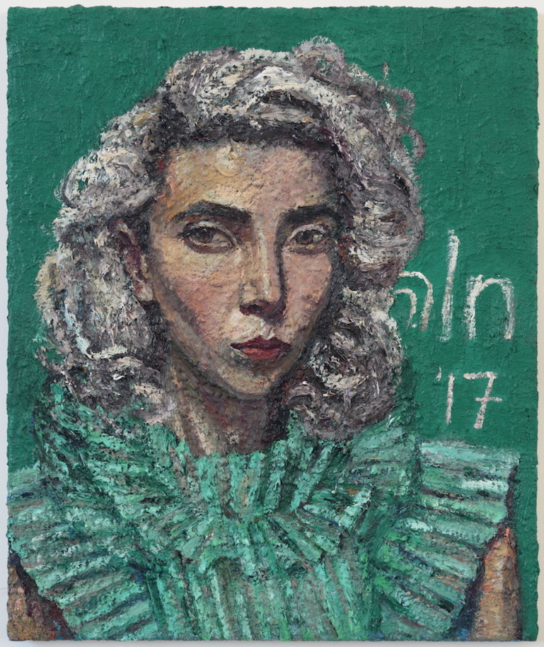 Coppersmith_Yvette_Self-portrait as St Vincent wearing Cara's Dress_oil on linen_61cm x 51cm_2016-8sce.jpeg