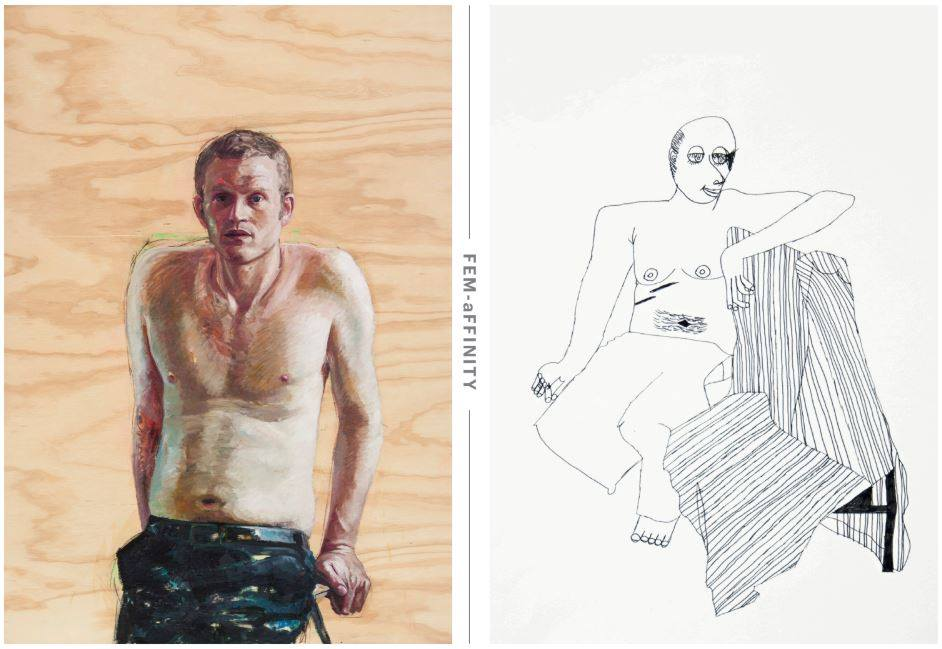 Left image: Yvette Coppersmith, John Safran, 2009  Right image: Lisa Reid, Life Drawing - seated, 2002