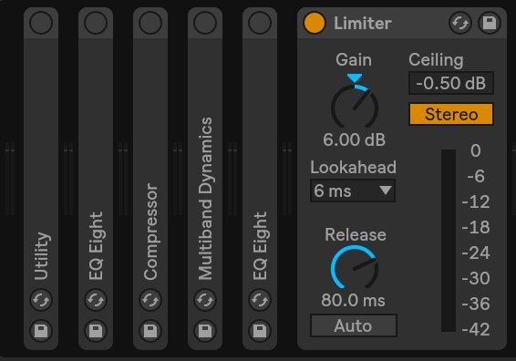 I made this quick picture in Ableton Live 10 to show you what I mean by mastering into an activated limiter. In the beginning the devices are switched off, except for the limiter. So I set up the rough loudness at first. (Settings are kind of random)