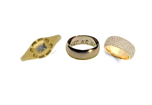 From left: C16 ring Berganza, nickel ring Emperor Puyi, Diamond pave ring VIP Vault Sale