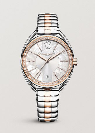 Rose gold & steel, diamond Liens Lumiere automatic watch, Chamet