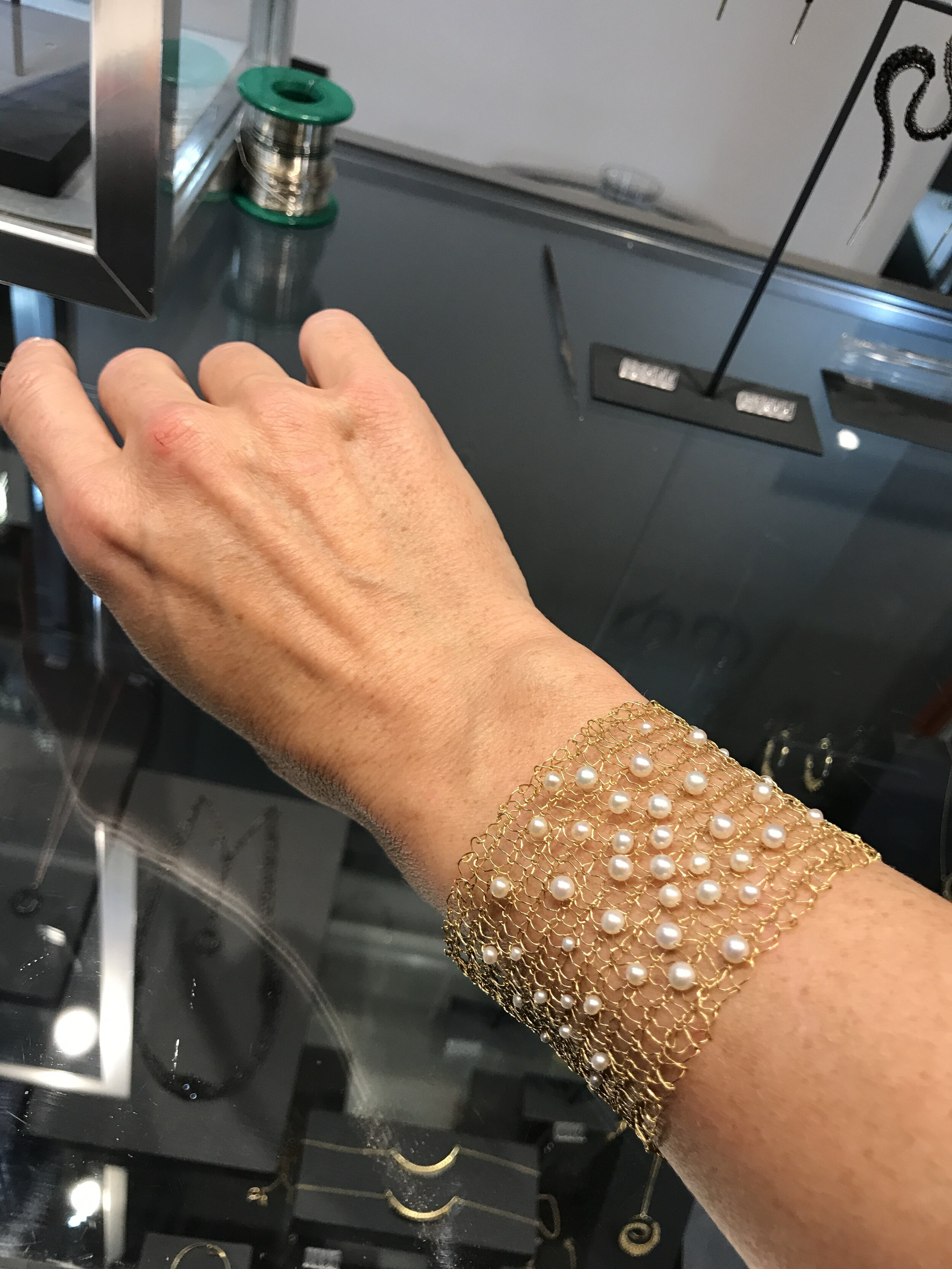 Gold and pearl wide knitted cuff, Teri Howes