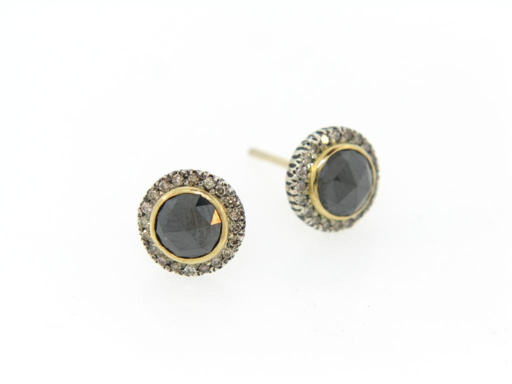 Black RC on 18K Yellow Gold Studs