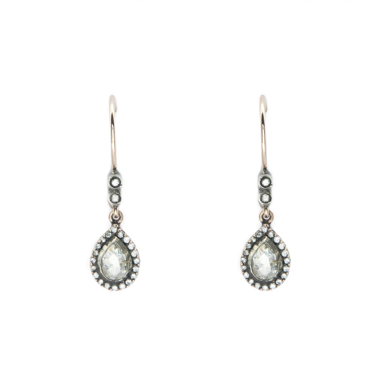 Vintage Pear Shape RC Diamonds Earrings