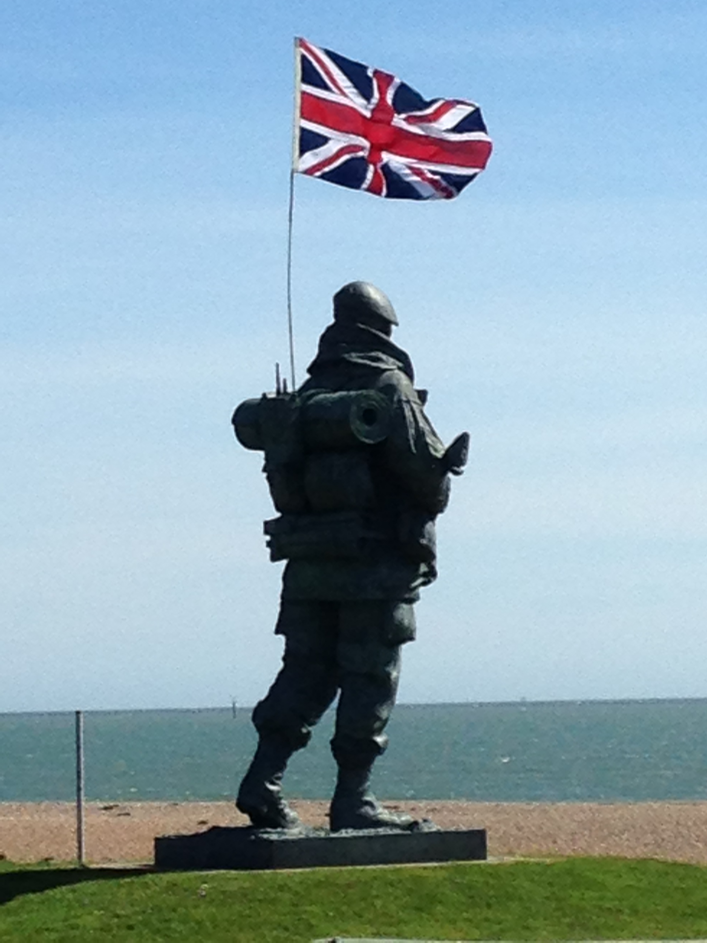 """The """"Yomper"""" in Eastney outside the old Royal Marine barracks in Portsmouth.  Once the home of the Royal Marines Museum until April 2017, I see this guy on a fairly regular basis on visits to the archives of the Royal Marines. I took this picture last summer on my way home from one of my visits there.  He commemorates the Royal Marines actions in the 1982 Falklands War, but for the people of Portsmouth he is a reminder of the link the city has to this military branch of the Royal Navy."""