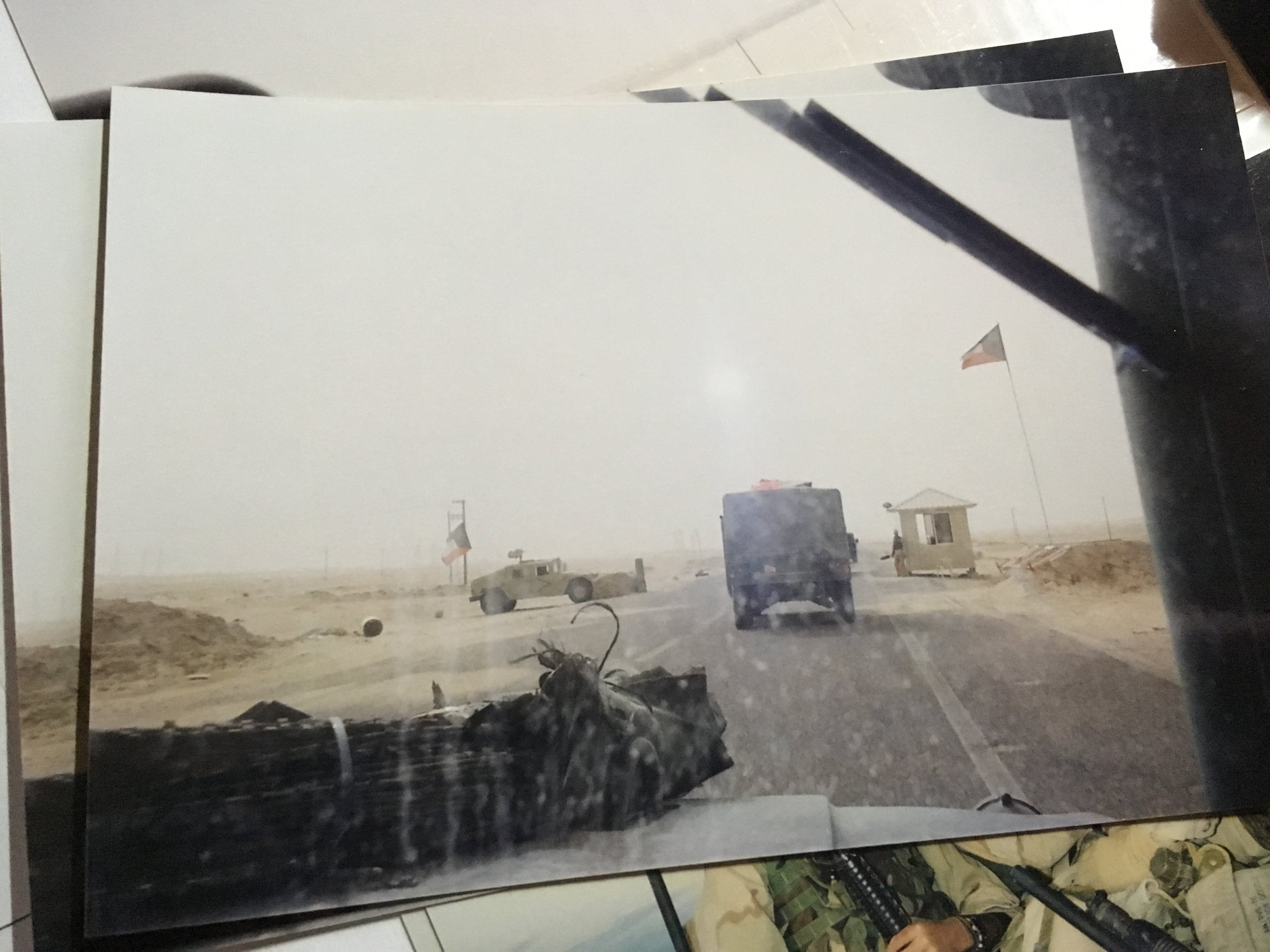 Crossing the Kuwaiti border on 20th March 2003 - the view from my vehicle