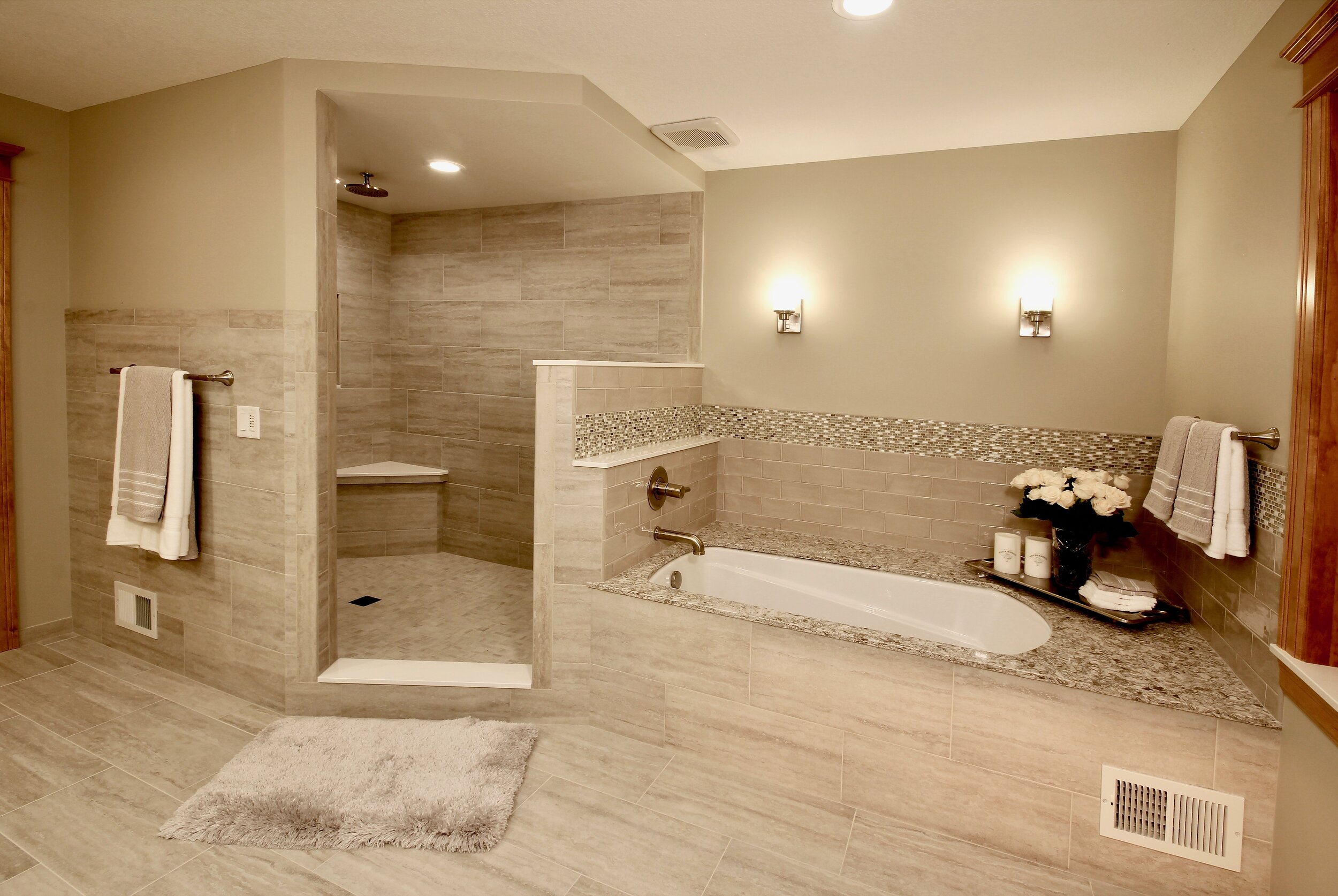 Open shower and soaker tub