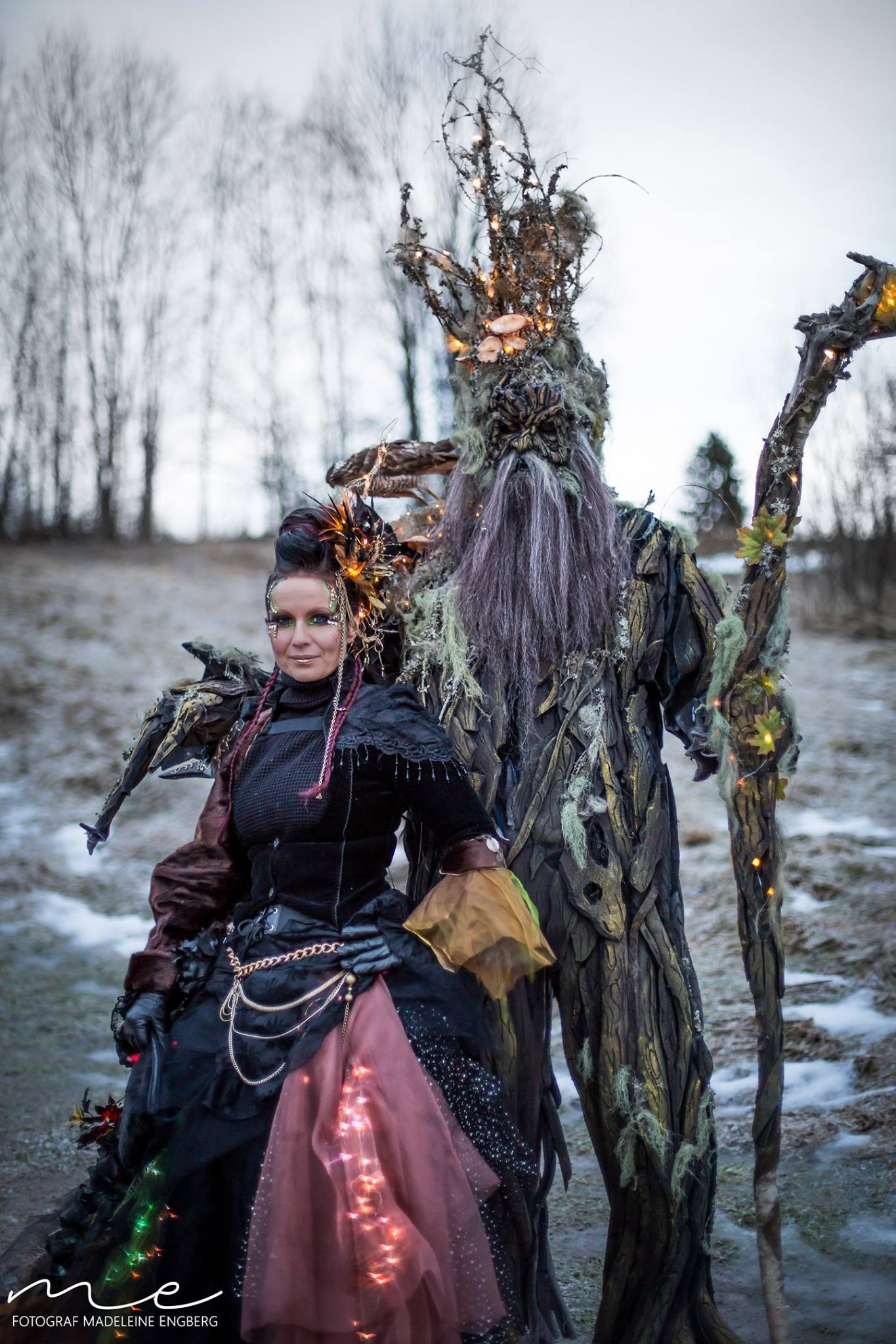 SFX Makeup Artist Petra Shara Stoor with the Ent character she created for the winter festival Midvinterglöd 2016.
