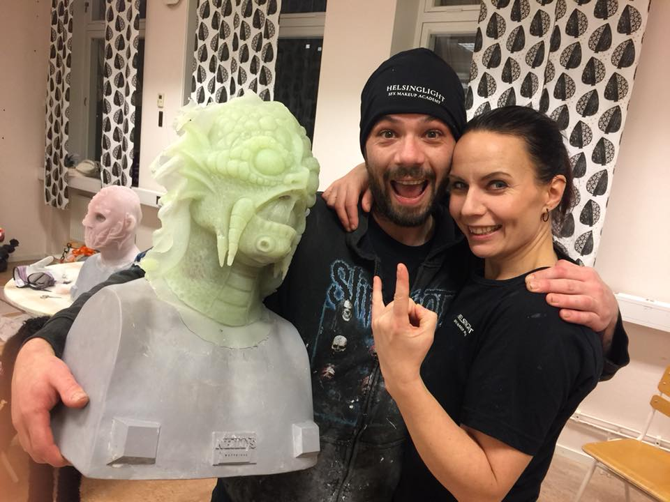 Nick Walsh, a students who attended our workshop and Petra Shara Stoor SFX Makeup teacher at Helsingight SFX Makeup Academy. (This workshop was held in another location than Helsinglight)