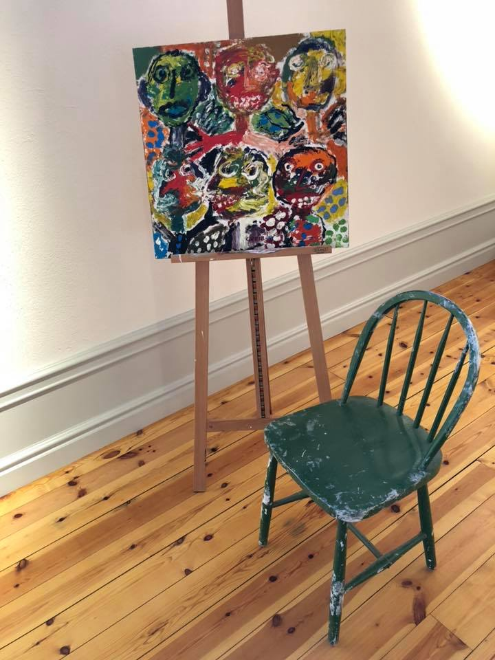 Artwork by Gunnar Greiber, and the chair he used to sit on when he painted in his artstudio in Vattlång old school (now Helsinglight).